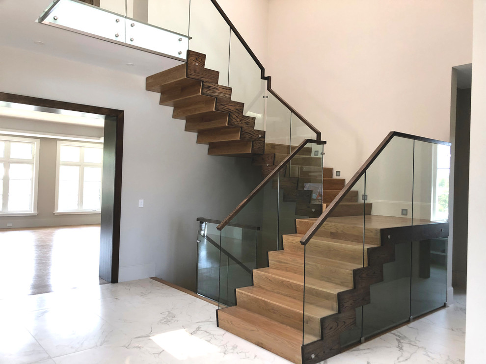 Dexter Modern Wood Cladding Staircase and Glass Railing ...