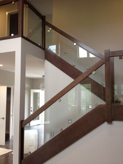 wood railing with tempered glass - Google Search | Stairs ...