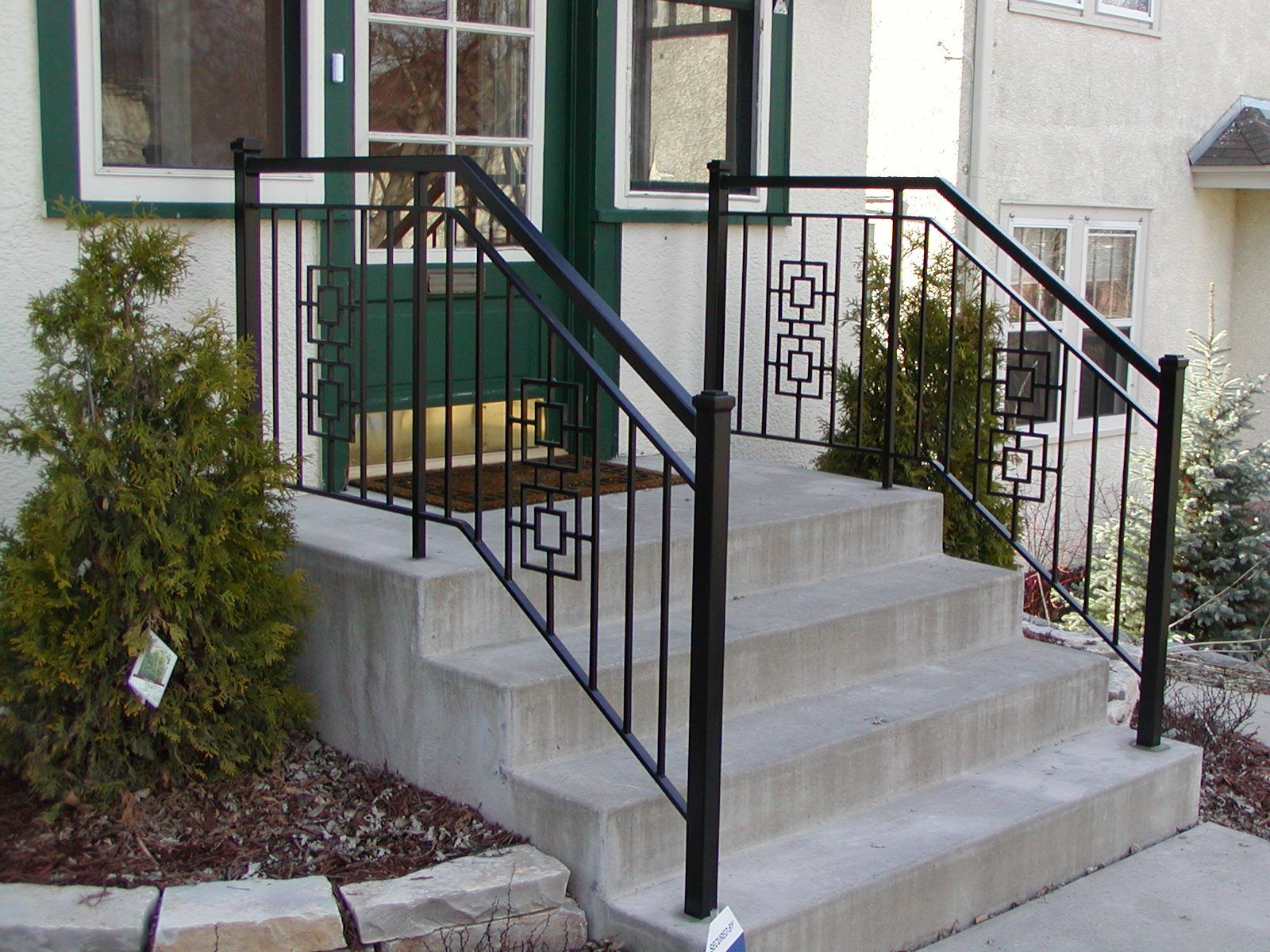 Iron step railing with 2 inch square end posts and square ...
