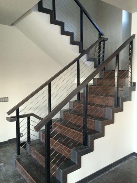 Black aluminum interior staircase cable railing system by ...
